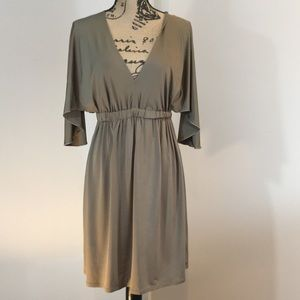 Trina Turk Deep V Neck and Back ruched Waist dress
